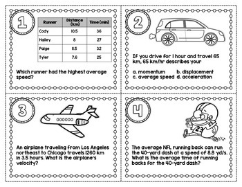 SPEED AND VELOCITY SCIENCE TASK CARDS