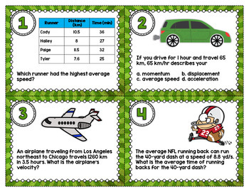 Speed and Velocity Task Cards