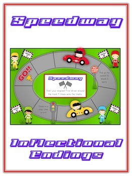 SPEEDWAY Inflectional Word Endings - ELA First Grade Game - Word Work Center