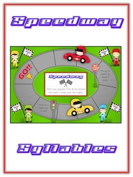 SPEEDWAY Syllables - ELA First Grade Folder Game - Word Work Center