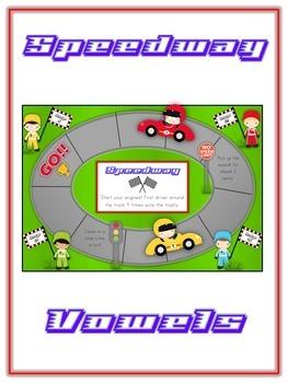 SPEEDWAY Vowels- ELA First Grade Folder Game - Word Work Center