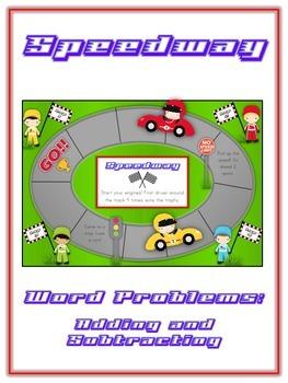 SPEEDWAY - Word Problems Adding & Subtracting - Math Folder Game
