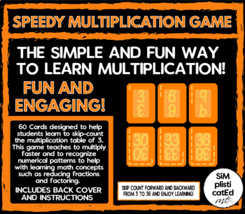 SPEEDY! The Multiplication Card Game - 3 TIMES TABLE - Skip Counting & ARRAYS