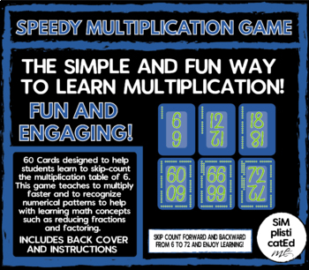 SPEEDY! The Multiplication Card Game - 6 TIMES TABLE - Skip Counting & ARRAYS