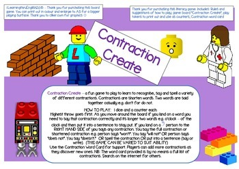 SPELLING CONTRACTIONS GAME BOARD - LEGO THEME - SUPPORTING