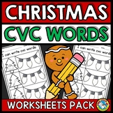 SPELLING CVC WORDS WORKSHEETS (CHRISTMAS ACTIVITY KINDERGA