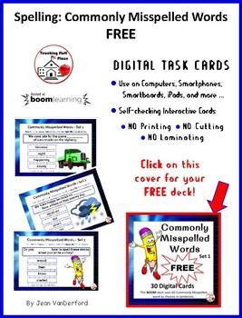 DIGITAL ... FREE SPELLING: Commonly Misspelled Words: BOOM Cards ... FREEBIE