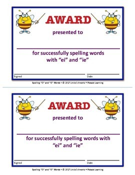 "SPELLING ""EI"" AND ""IE"" WORDS • GRADES 4–6"