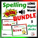 SPELLING Long Vowel Words ... BUNDLE ... 5 DIGITAL DECKS Gr.1,2,3 Paperless