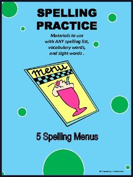 SPELLING PRACTICE: 5 MENUS