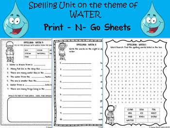 WATER THEMATIC UNIT PRINT-N-GO SPELLING SHEETS