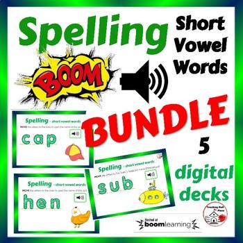 SPELLING Short Vowel Words ... CVC BUNDLE ... 5 DIGITAL Internet DECKS Paperless