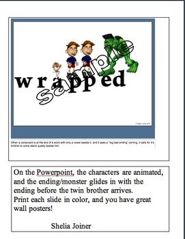 SPELLING/PHONICS:  Doubling the consonant POWERPOINT/POSTERS