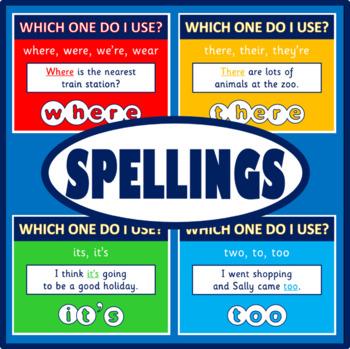 SPELLINGS POSTERS - ENGLISH, LITERACY, KS 1-4