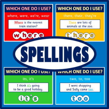 SPELLINGS POSTERS - ENGLISH, LITERACY, KS 1-4