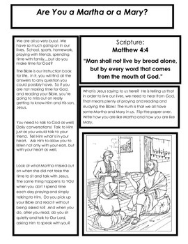 SPEND MORE TIME WITH GOD! Martha and Mary Readers' Theater Activity Packet