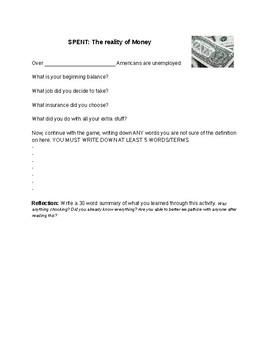 SPENT Money Worksheet