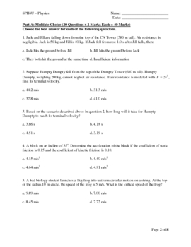 SPH4U - Grade 12 Physics Final Exam Review (Exam Sample)