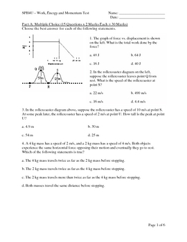 SPH4U - Work, Energy and Momentum Test