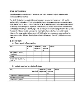 Speech Therapy-Hearing Impaired-SPICE Rating Form Evaluation template