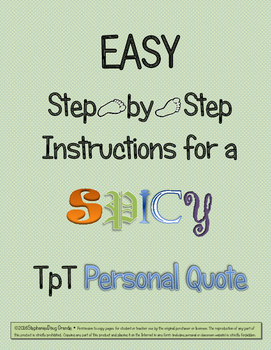SPICY Personal Quote for TpT Store Profile ~ EASY Step by