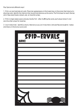 SPID-ERVALS, Halloween, Music, Piano, Teaching, Education, Interval Reading