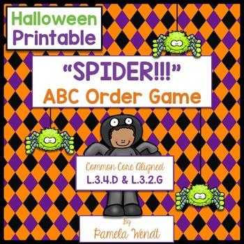 SPIDER ABC Order - Halloween Dictionary Skills