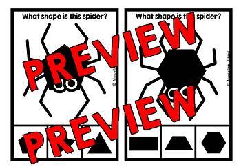 SPIDER ACTIVITIES KINDERGARTEN (HALLOWEEN SHAPES RECOGNITION CLIP CARDS)