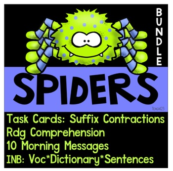 SPIDER Task Cards Reading Comprehension Interactive Journal Morning Message