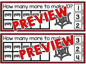 HALLOWEEN MATH CENTER KINDERGARTEN (SPIDERS ACTIVITIES) MAKING TEN CLIP CARDS