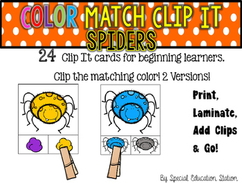 SPIDERS Color Match Clip It {A Beginning Work Task)