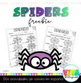 SPIDERS MATH FREEBIE IN SPANISH