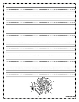 Spiders Writing Paper - Lined Paper - Spiders Theme
