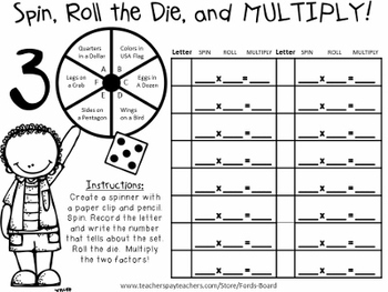10 Multiplication Centers - Spin, Roll the Die, and Multiply