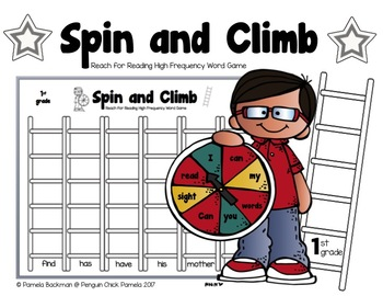 1st Gr.  SPIN & CLIMB HFW (Word Race) Game Aligned w/REACH for READING