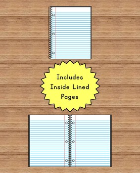 SPIRAL NOTEBOOKS Clip Art - Solid Color Covers Set with Lined Pages and Labels