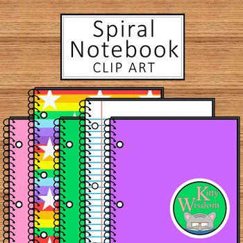 SPIRAL NOTEBOOK Clip Art Set - Over 20 Colors and Designs + Lined Pages