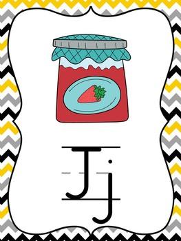SPIRE Gray, Black, and Yellow Chevron Alphabet Strip and Keyword Cards