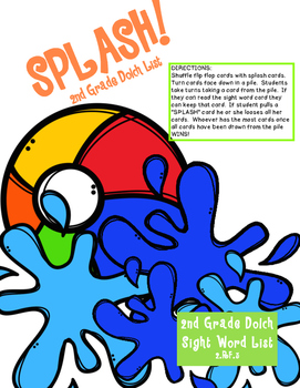 SPLASH! 2nd Grade Dolch Sight Word Game