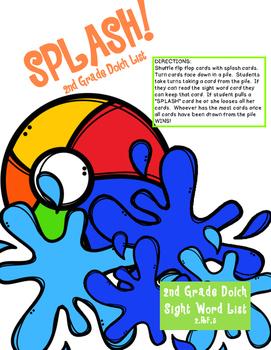 SPLASH! 2nd Grade Dolch Sight Word Game