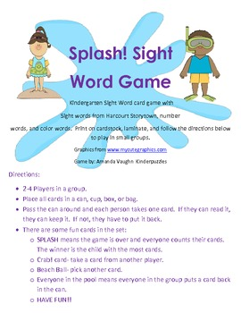 SPLASH! Kindergarten Sight word game!