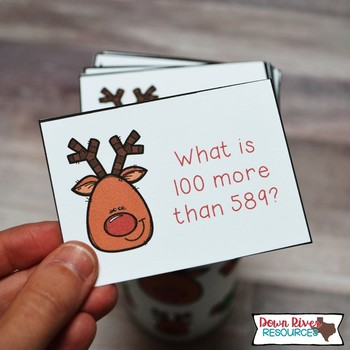 SPLAT! 10 More 10 Less 100 More 100 Less up to 1,200 Math Center - Reindeer