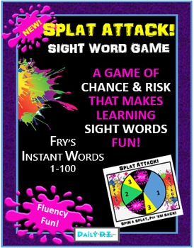 Sight Word Game: SPLAT ATTACK! (Game of Chance & Risk using Fry's Instant Words)