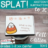SPLAT! Addition and Subtraction to 20: Solve for Unknowns- Fall Edition {TEKS}