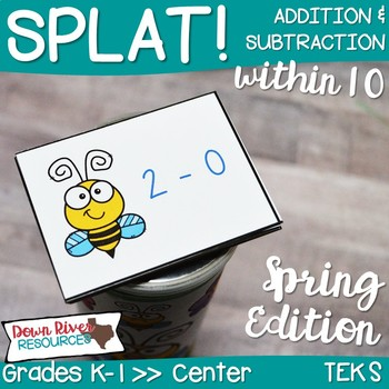SPLAT! Addition and Subtraction up to 10 Math Center | Add and Subtract | Spring