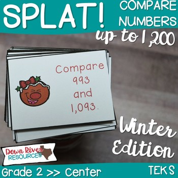 SPLAT! Compare Whole Numbers up to 1,200 Math Center- Comparisons- Gingerbread
