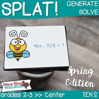 SPLAT! Generate & Solve Addition & Subtraction within 1,000 Math Center - Spring