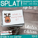 SPLAT! Generate a Set to 20 Math Center- More than-Less than-Equal to- Reindeer