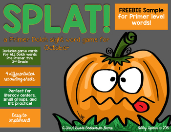 SPLAT! {a Dolch sight word game} PRIMER FREEBIE