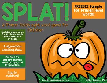 SPLAT! {a Dolch sight word game} PRIMER FREEBIE